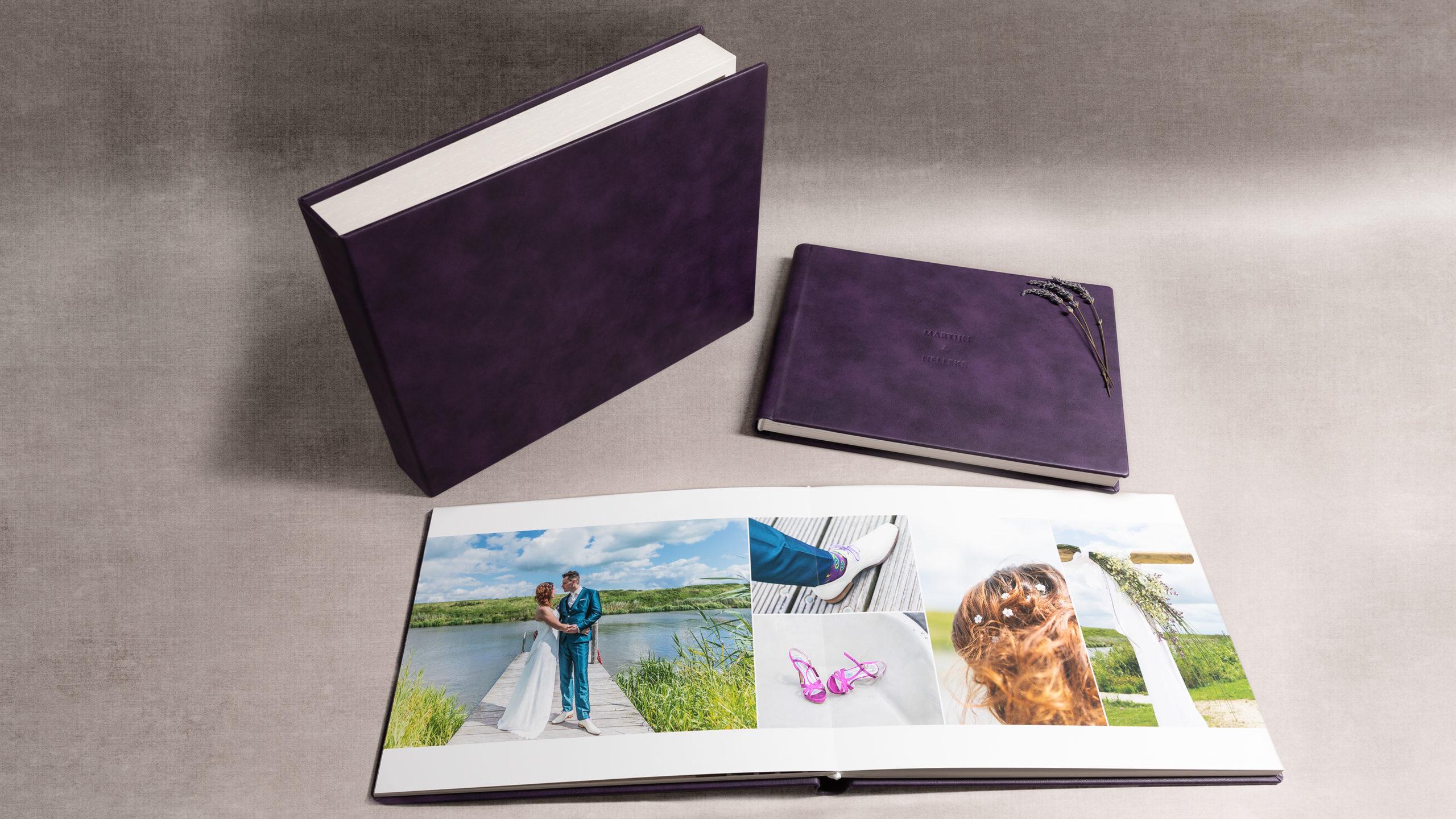 luxe fotoalbum met opbergdoos en leren cover